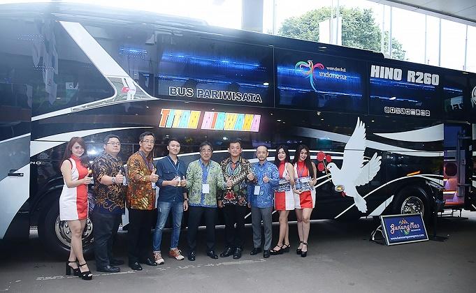 Inilah bus Hino R260 milik PO Titan Nirwana yang diserahkan di ajang GIICOMVEC 2018.   Ist