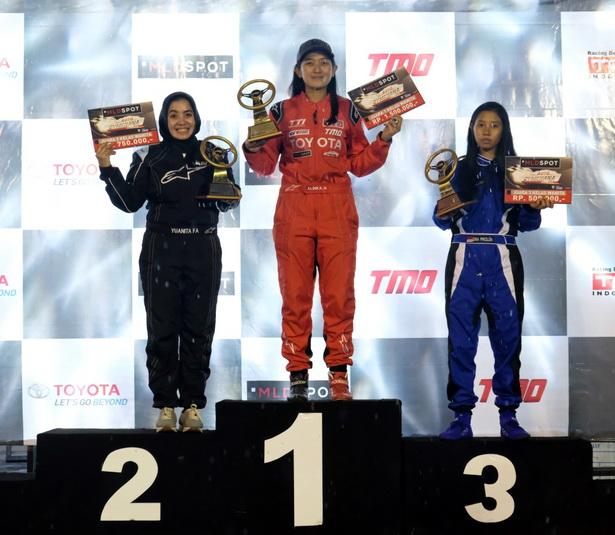 Pembalap wanita berbakat TTI yaitu Alinka Hardianti meraih posisi pertama untuk kelas wanita. Ist