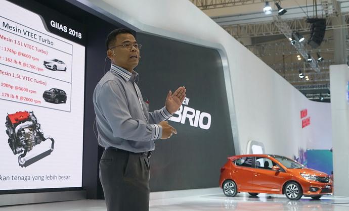 Penjelasan HPM atas teknologi canggih di usung di mobil Honda di ajang GIIAS 2018.  Ist