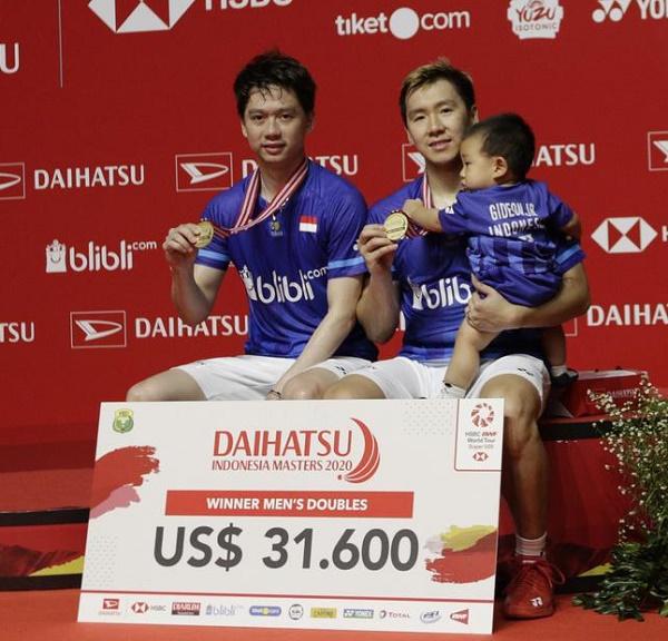 Juara Ganda Putra::Marcus Fernaldi Gideon (kanan) & Kevin Sanjaya Sukamuljo.  Ist